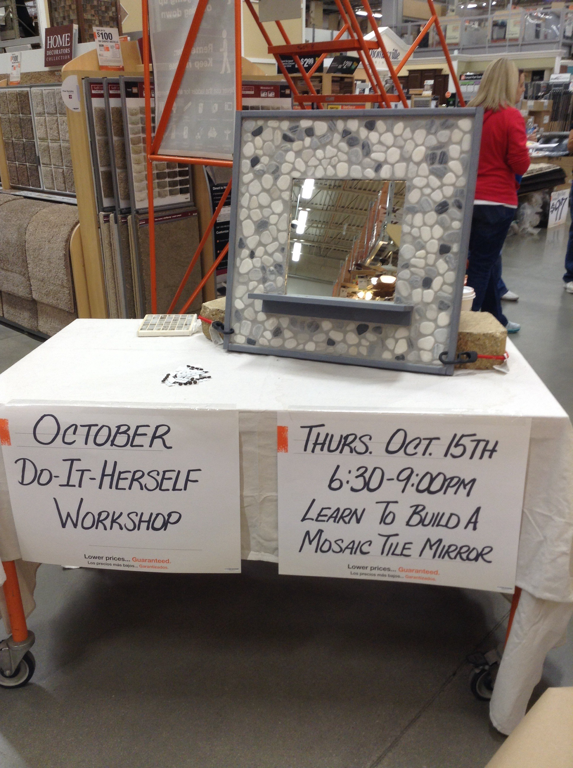 Home Depot Build it HERself *Free* workshop (Mosaic Tile Mirror ...